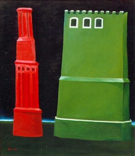 Kémény és torony 1991 olaj, rétegelt lemez 80x70cm