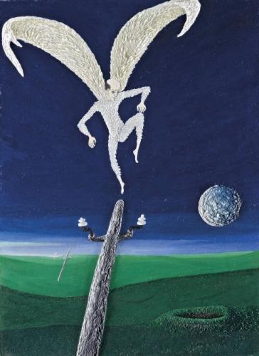 Angyal landol egy használaton kívüli villanyoszlopon 2008 olaj, rétegelt lemez 66*48 cm jelzett: Ősi László