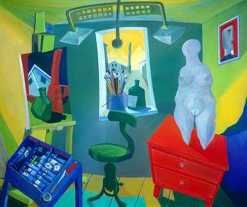 Idol a műteremben 1991-92 olaj, rétegelt lemez 100x120cm