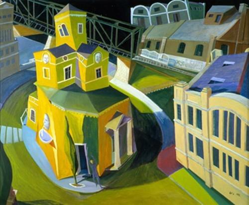 A művész motívumot keres az Északi Vasúti Hídnál, de elkergetik 1992 olaj, rétegelt lemez 77x94cm