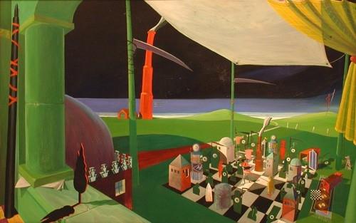 Nagy játszma 1992. olaj, rétegelt lemez 75x115cm
