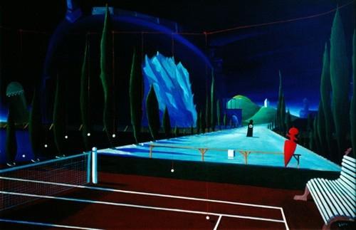 Metafizikus tenisz 1992 olaj, rétegelt lemez 80x122cm