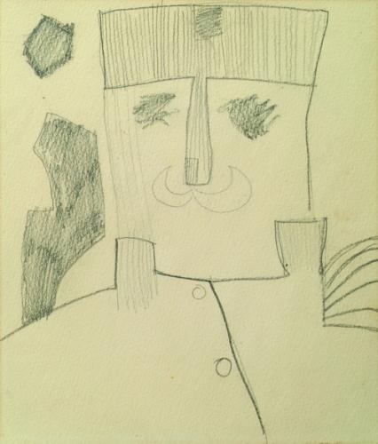 Király (Tiszt) 1970 ceruza, papír 23x19cm