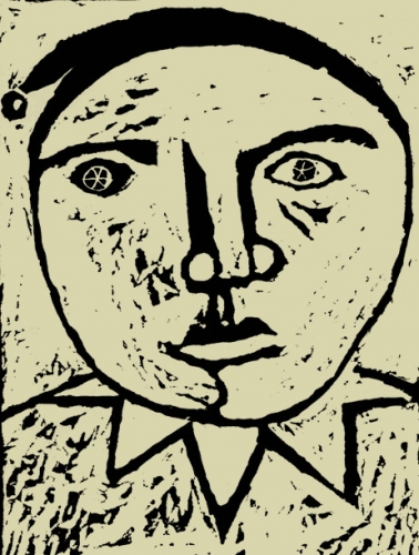 Szomorú bohóc 1968 linoleum metszet 22x18cm