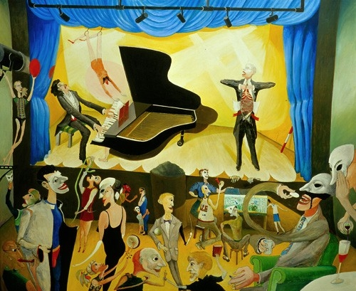 Dietrich Fischer – Dieskau álarcos hermeneuták előtt Schubert – dalokat énekel (Gadamer 100 éves) 2000 olaj, rétegelt lemez 100x122cm