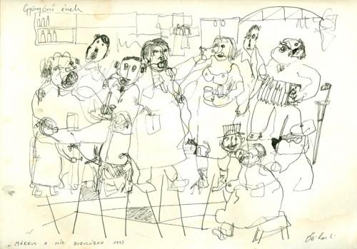 Gyönyörű ének (Híd borozó) 1973 tus, papír 21x29cm