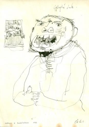 Gyönyörű ének (Bokréta) 1973 tus, papír 29x21cm