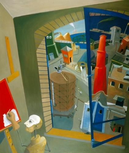 """A művész a """"függőleges vörös"""" cimű képén dolgozik 1996-98 olaj, rétegelt lemez 152x130cm"""
