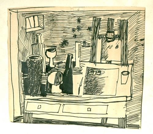 Kis műterem 1967. tus, papír 11x12cm