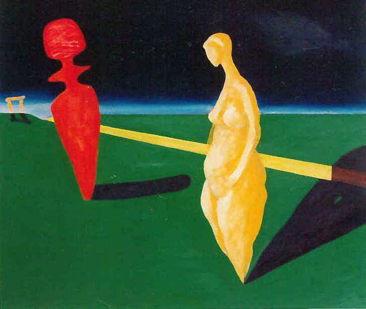 Idolok találkozása olaj, rétegelt lemez 1991 58x63