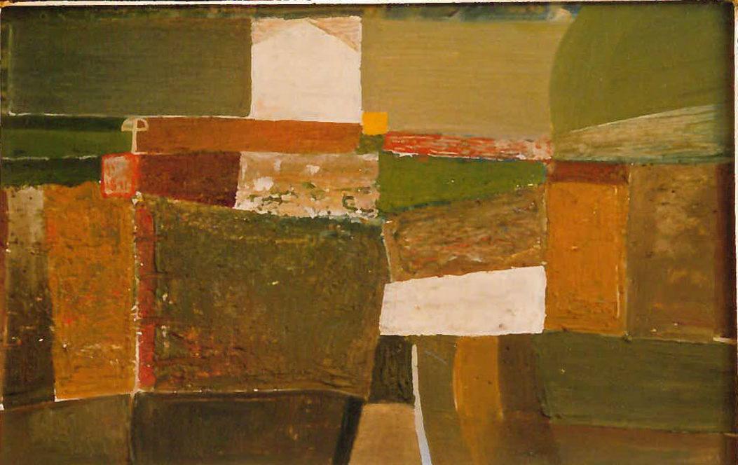 Városszéli kereszt olaj, falemez, 1972 25x39