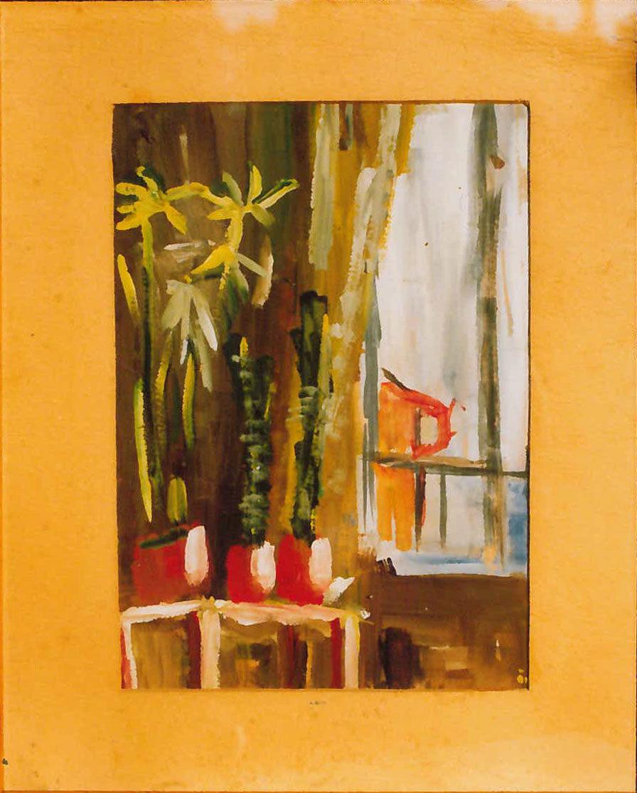 Virágok ablakszegletben (Bartyik) 1963 quache, papír 36x25cm (Első kép)