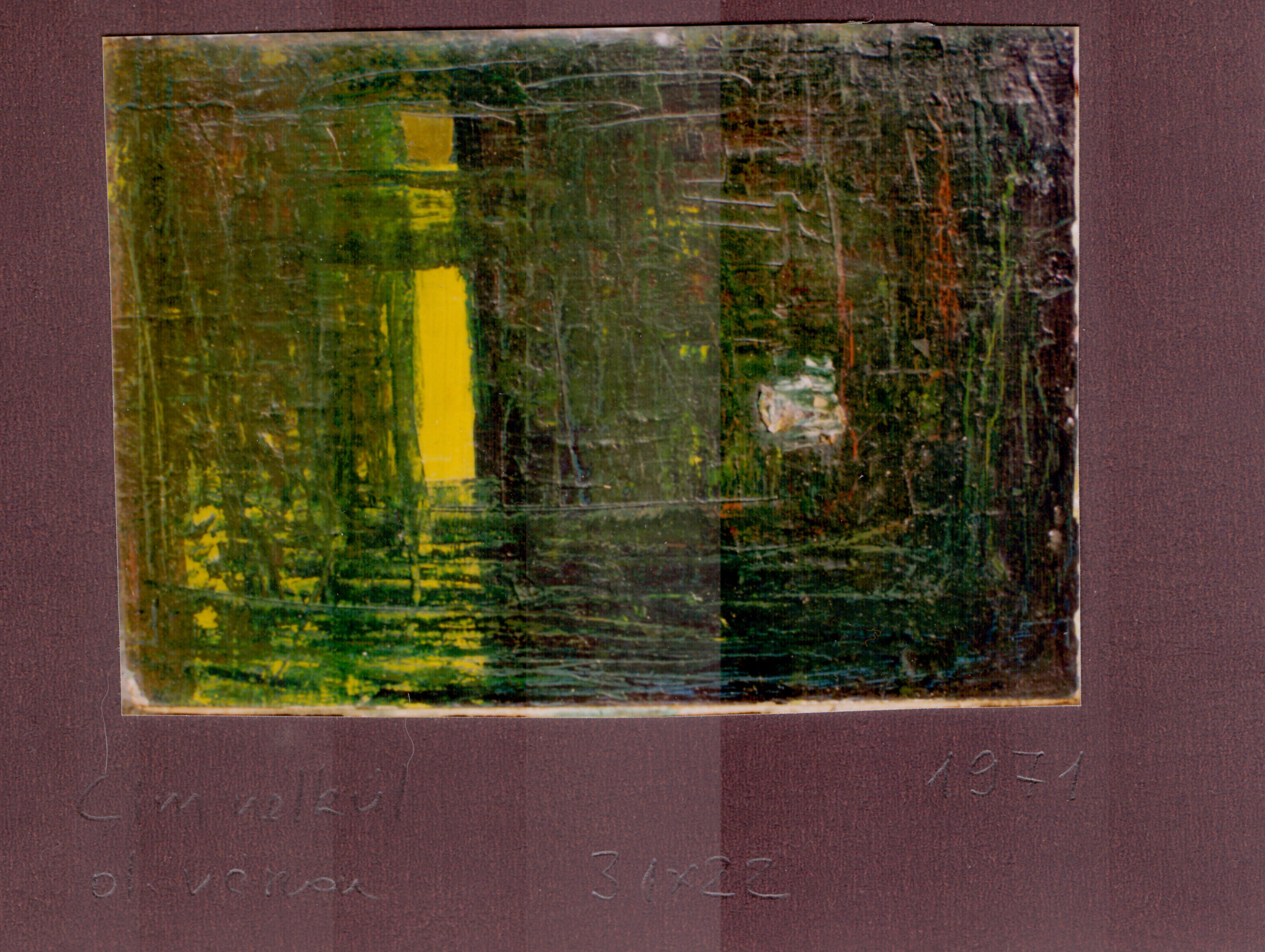 Ősi László Cím nélkül (Rejtély?) 1971(?) olaj vászon 22x31cm (Első nonfiguráció)