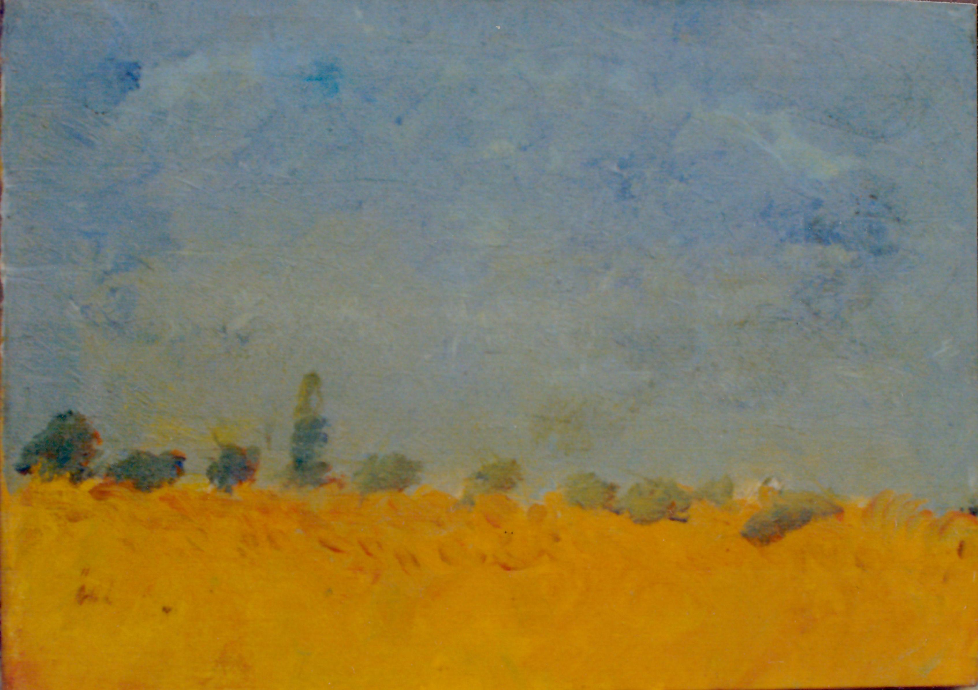 Ősi László Nyár (csonka fasor) 1964 olaj vászon cca 40x55cm (Első olaj kép)