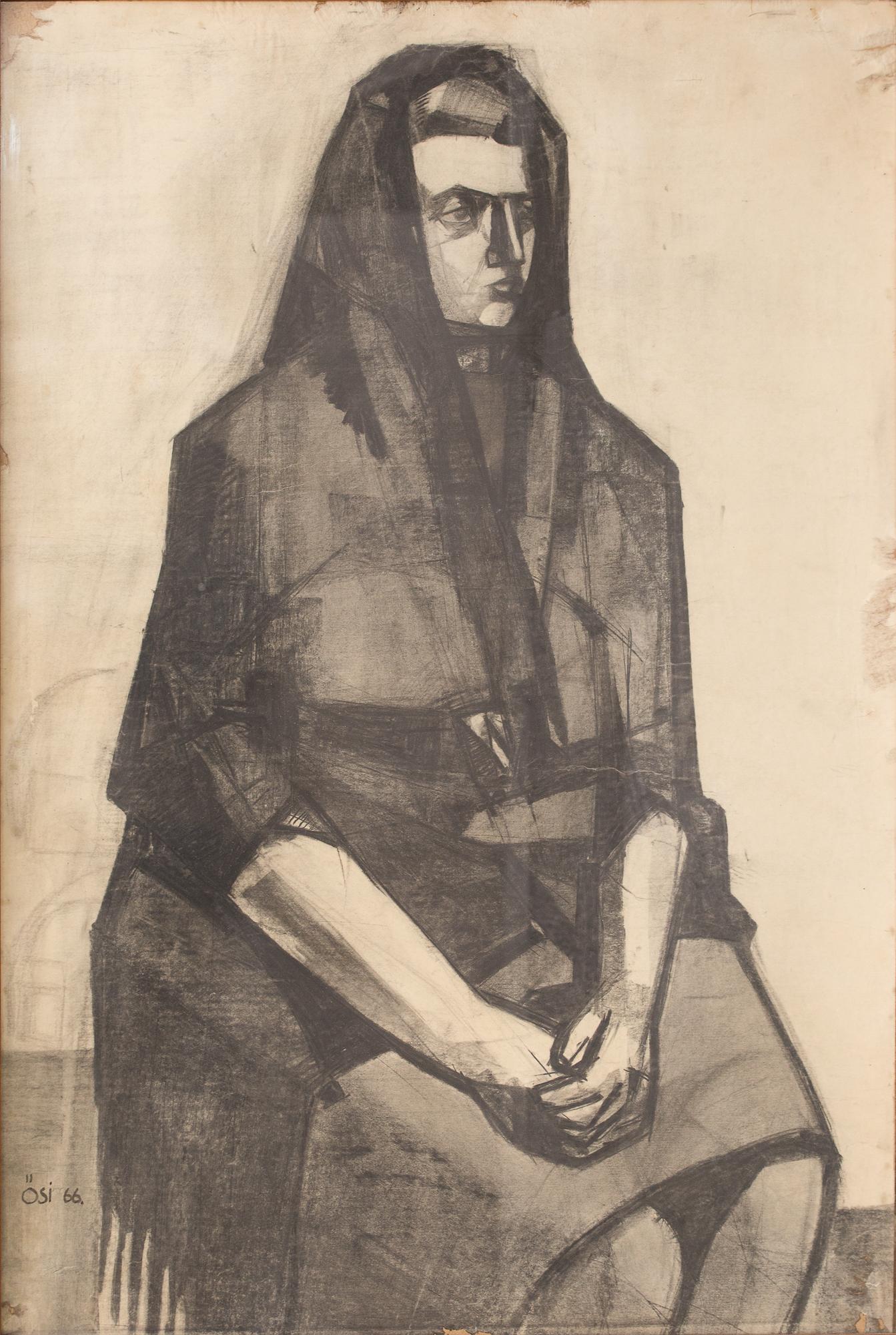 Ősi László - Mama 1966 pitt kréta papír 82x57 (Paróczy Ágnes mellett)