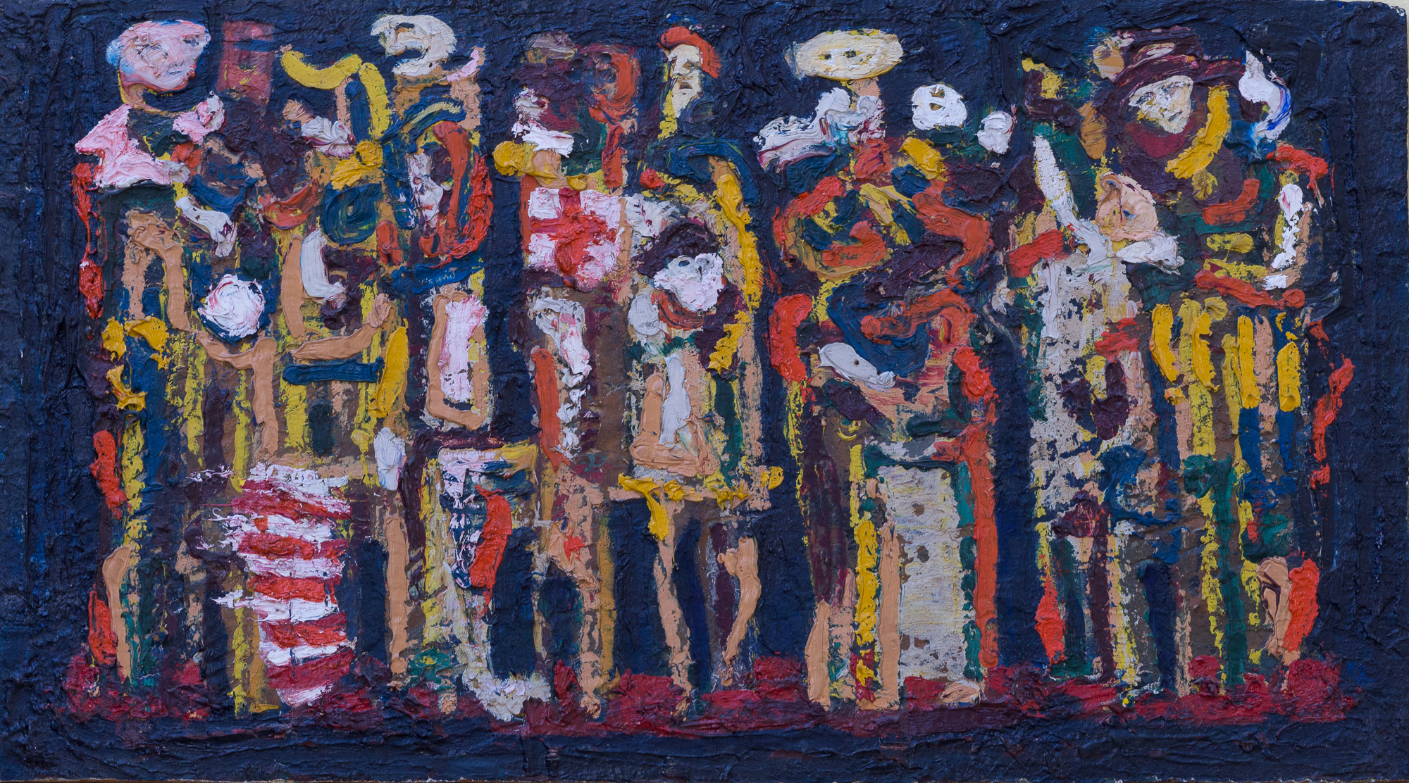 Ősi László - TÍZ FIGURA 1968 olaj, farost 22x40 - 15. parafrázis